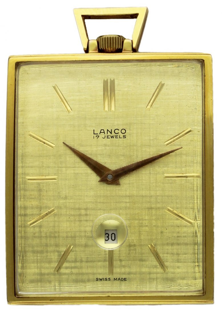 A GOLD FILLED RECTANGULAR TOP WIND LANCO POCKET WATCH