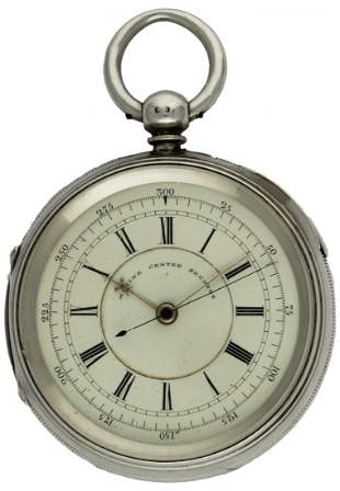 A LARGE GENTLEMAN'S SOLID SILVER FUSEE MARINE CENTRE