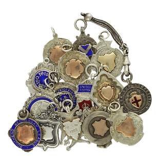 15 SOLID SILVER POCKET WATCH CHAIN FOBS. All different