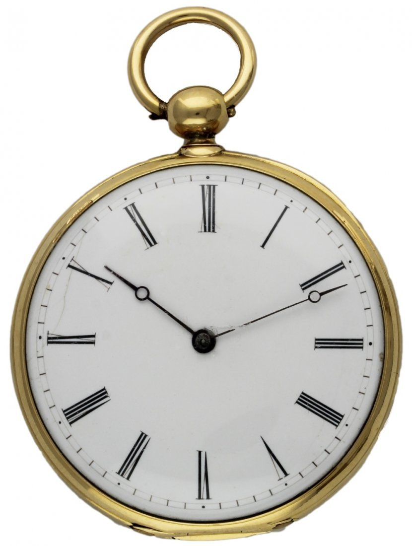 AN 18K SOLID GOLD KEY WIND DUPLEX POCKET WATCH CIRCA