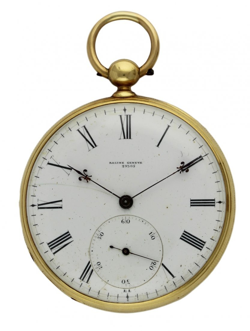 AN 18K SOLID GOLD KEY WIND DETENT CHRONOMETER POCKET