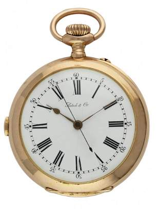 A RARE 14K SOLID GOLD KEYLESS WIND TWO TRAIN