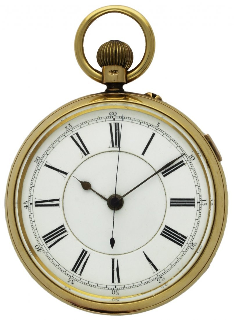 AN 18K SOLID GOLD ENGLISH KEYLESS WIND CENTRE SECONDS