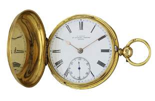 AN ENGLISH FUSEE KEY WIND 18K SOLID GOLD FULL HUNTER