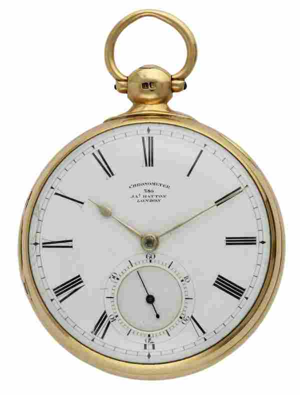 A RARE 18K SOLID GOLD KEY WIND ENGLISH FUSEE