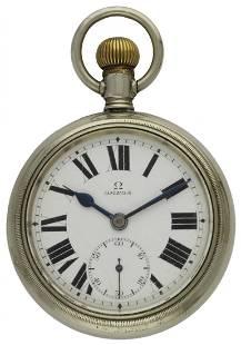 A NICKEL CASED OMEGA POCKET WATCH CIRCA 1916 D: Enamel