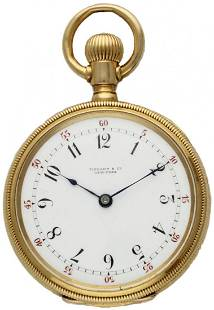 A LADIES 18K SOLID GOLD TIFFANY & CO NEW YORK POCKET