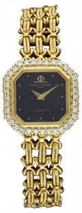 A LADIES 18K SOLID GOLD & DIAMOND BAUME & MERCIER