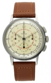 A RARE GENTLEMAN'S STAINLESS STEEL OMEGA CHRONOGRAPH