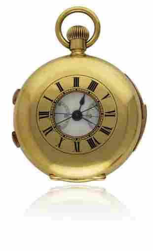 AN 18K SOLID GOLD HALF HUNTER SPLIT SECONDS REPEATING