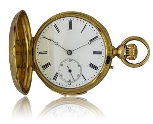 AN 18K SOLID GOLD MINUTE REPEATING FULL HUNTER POCKET
