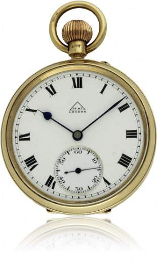 A GENTLEMAN'S 9CT SOLID GOLD OPEN FACE POCKET WATCH