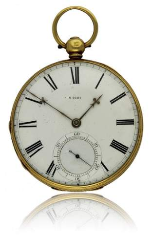 A GENTLEMAN'S 18K SOLID GOLD ENGLISH FUSEE POCKET WATCH