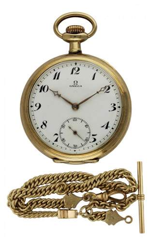 A GENTLEMAN'S GOLD PLATED OMEGA POCKET WATCH AND CHAIN