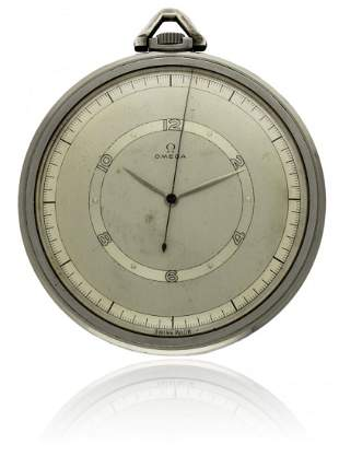 A RARE LARGE STAINLESS STEEL OMEGA POCKET WATCH CIRCA