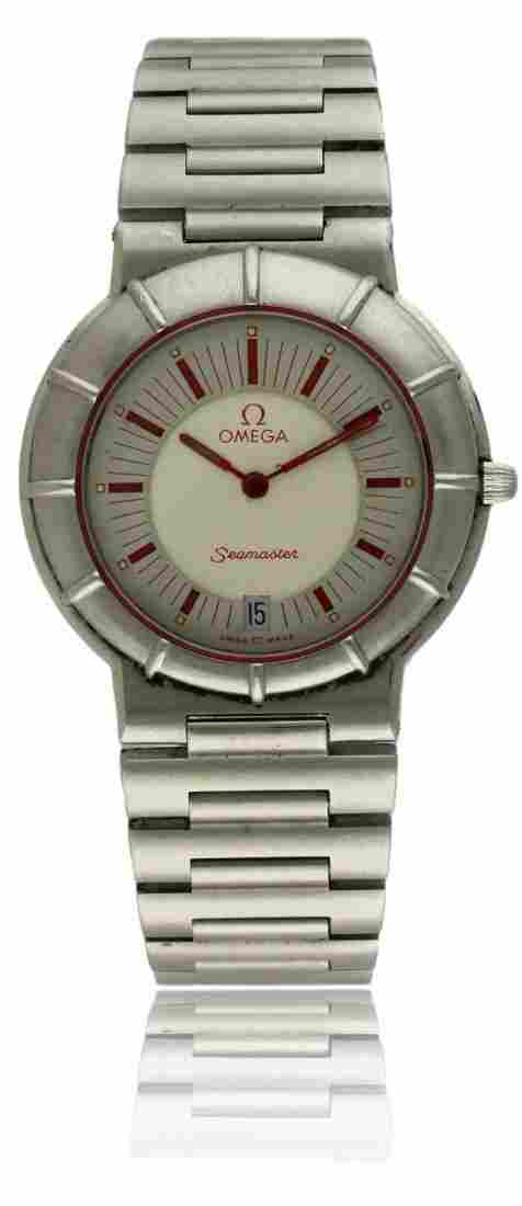 """A GENTLEMAN'S STAINLESS STEEL OMEGA SEAMASTER """"SPIDEY"""""""