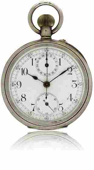 A GENTLEMAN'S SOLID SILVER CHRONOGRAPH POCKET WATCH