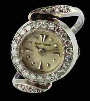A RARE LADIES 18K SOLID WHITE GOLD & DIAMOND JAEGER
