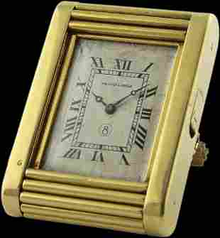 A FINE & RARE 18K SOLID GOLD 8 DAY EUROPEAN WATCH CO