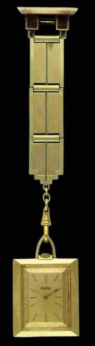 A 18K SOLID GOLD ESKA POCKET WATCH CIRCA 1970, REF