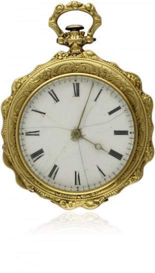 A LADIES 18K SOLID GOLD POCKET WATCH BY GIRARD & BORNA