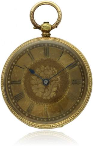 A LADIES 18K SOLID GOLD POCKET WATCH CIRCA 1860 D: Gold