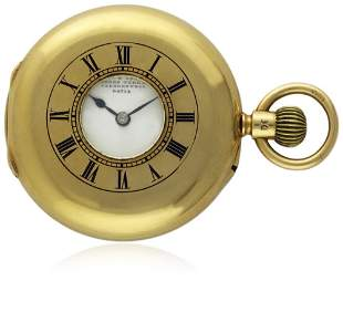 AN 18K SOLID GOLD ENGLISH HALF HUNTER POCKET WATCH BY
