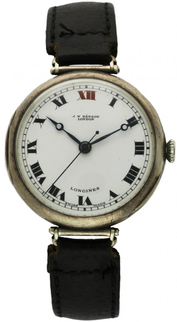 A RARE GENTLEMAN'S SOLID SILVER LONGINES ''OFFICERS''