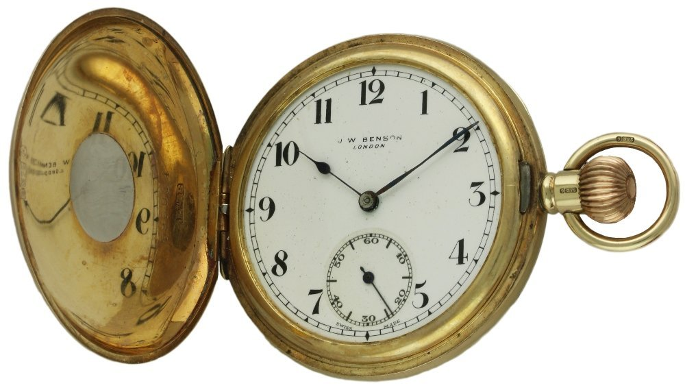 A GENTLEMAN'S 9CT SOLID GOLD J.W.BENSON HALF HUNTER