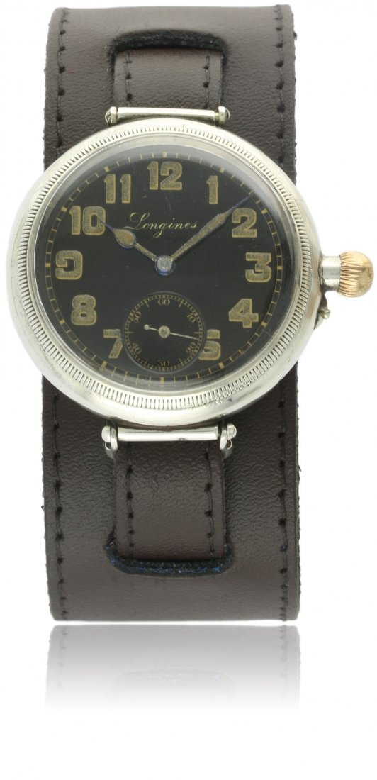 A GENTLEMAN'S SOLID SILVER LONGINES ''OFFICERS'' BORGEL