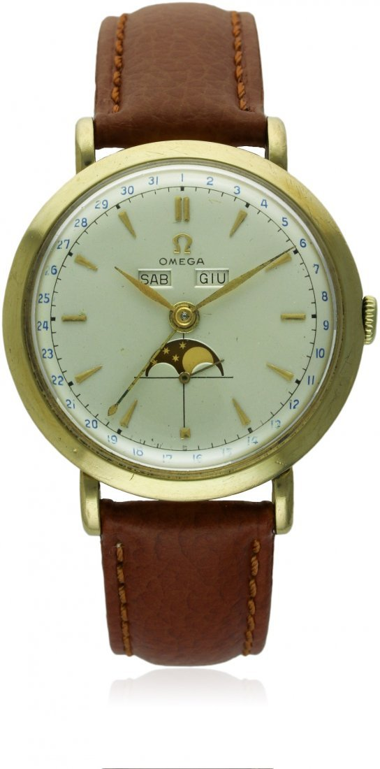 A RARE GENTLEMAN'S LARGE 18K SOLID GOLD OMEGA COSMIC