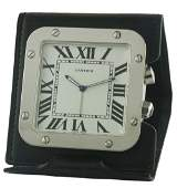 A CARTIER SANTOS TRAVEL ALARM DESK CLOCK CIRCA 2007