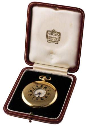 A RARE 18K SOLID GOLD CARTIER HALF HUNTERÂ POCKET WATCH