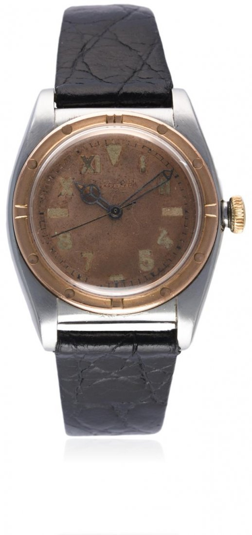 A GENTLEMAN'S STEEL & SOLID ROSE GOLD ROLEX OYSTER
