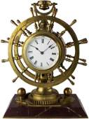 A RARE FRENCH REVOLVING DOUBLE SHIPS WHEEL FUSEE MANTEL