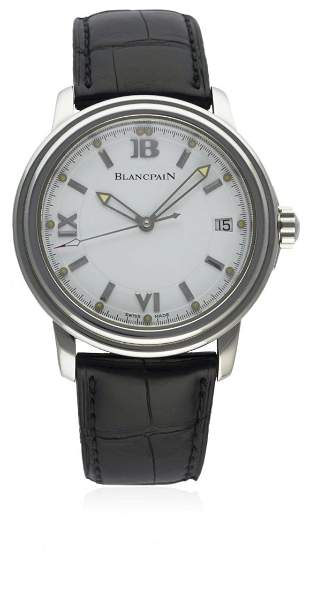 A GENTLEMAN'S STAINLESS STEEL BLANCPAIN LEMAN AUTOMATIC