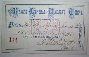 Kansas Central Railway Annual Pass 1873
