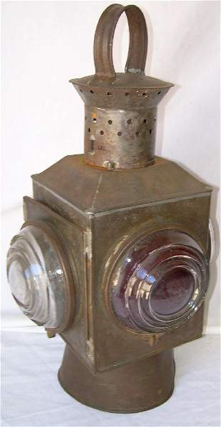 Early Tin Railroad Switch Lamp 1877 Patent Lenses