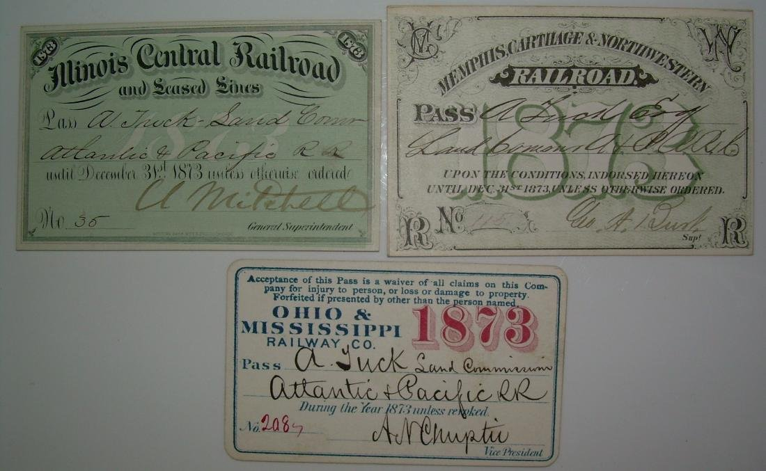1873 Southern Central Annual Passes: IC, MC&NW