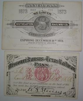 1873 South Western Annual Passes: SLSE, MK&T