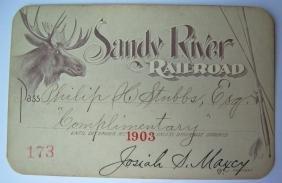 Sandy River Railroad Annual Pass 1903