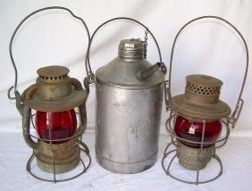 New Haven Railroad Lanterns & Tin Can (3)