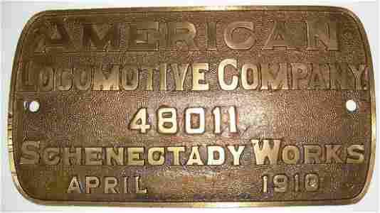 Rutland Railroad #14 Alco Builder's Plate