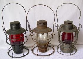 3 New Haven Railroad Lanterns Red Cast Red Etch