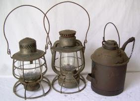 Boston & Maine Railroad Hardware (3) Lanterns Can
