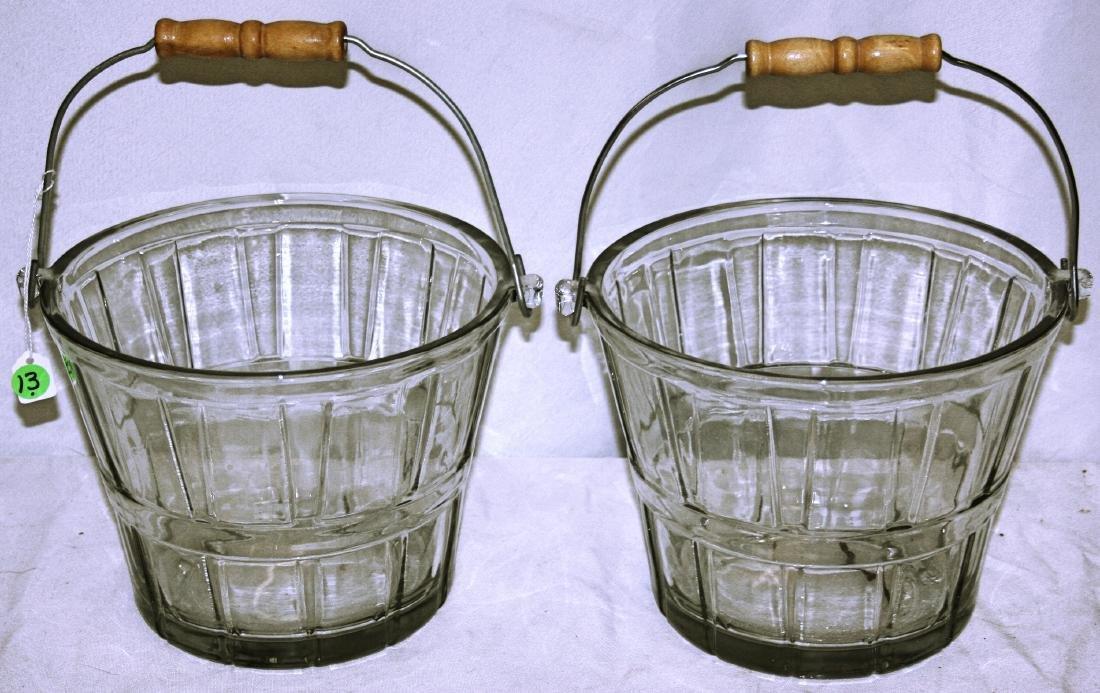 2 Glass Fire Bucket Ice Buckets