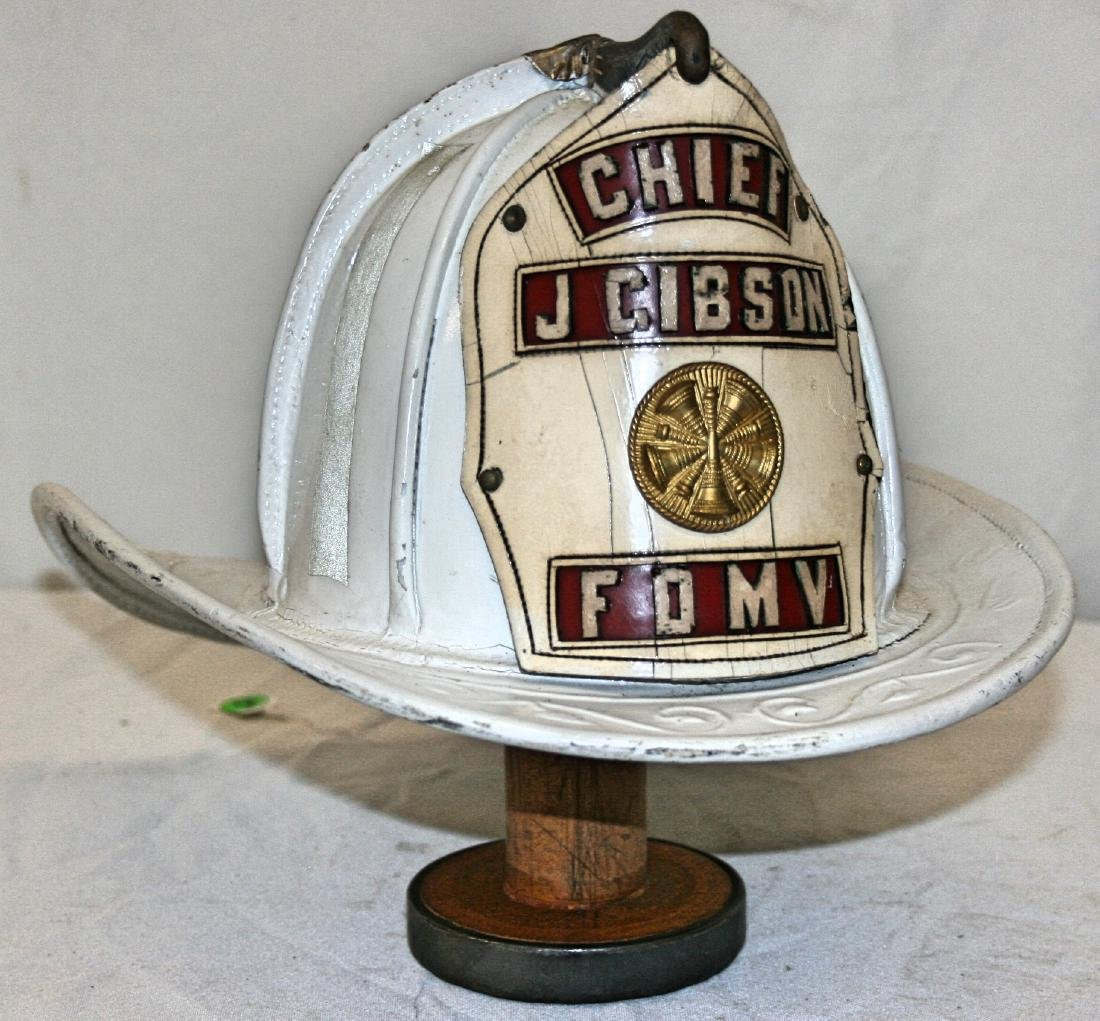 Fire Hat: Leather Chief J Gibson FDMV