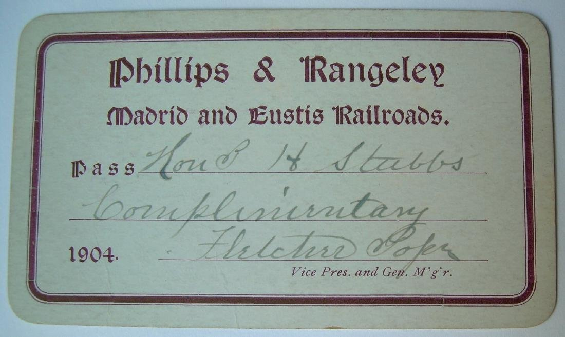 Philips & Rangeley Railroad Annual Pass 1904