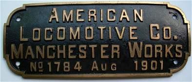Alco Manchester BAR Builder's Plate