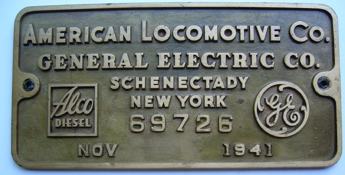 Alco New Haven DL109 Builder's Plate